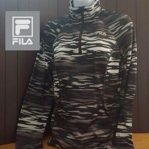 Fila Sport 1/4 Zip Pullover, S, Black & White